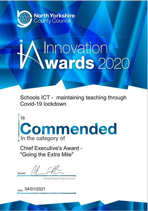 Innovations Award Certificate 2020
