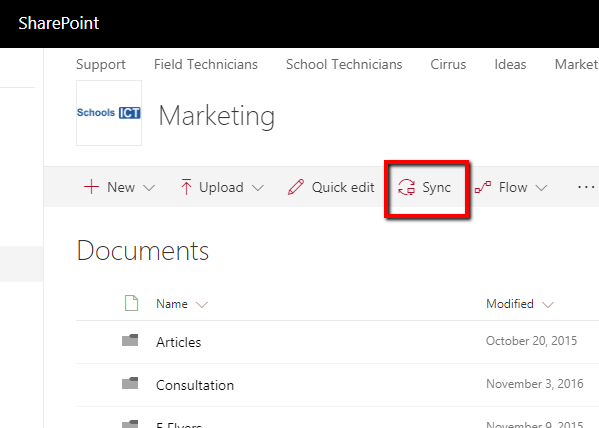 sharepoint library sync
