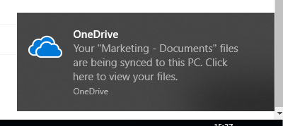 sharepoint onedrive sync confirmation