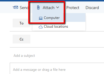 Attach a file from computer in Outlook