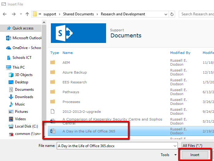 Browse Document Library in Outlook Client