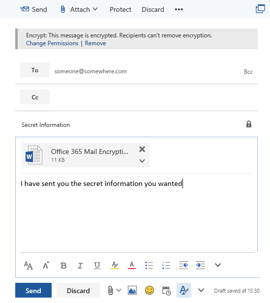 outlook web classic protect email click send
