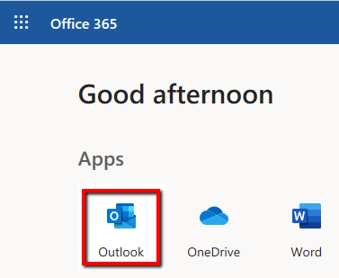 outlook web menu shortcut