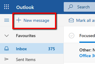 outlook web new create email