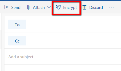 outlook web new encrypt button