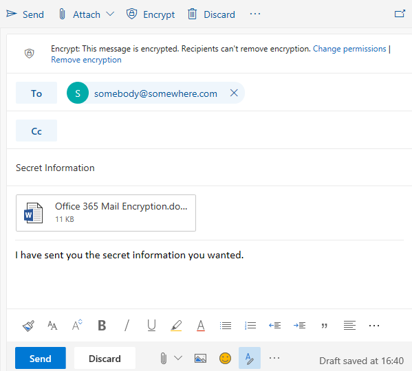 outlook web new encrypt email click send