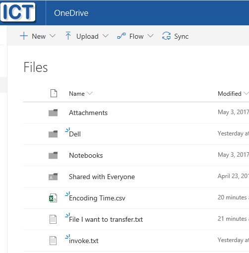 onedrive files folders example