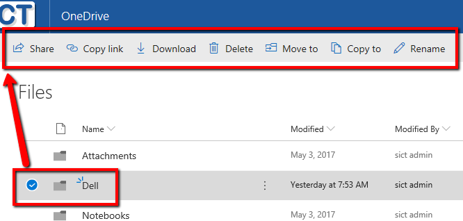 onedrive selected filefolder topmenu actions