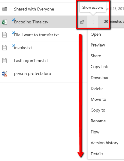 onedrive showactions file